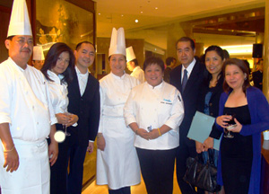 Chef Segismundo with her team, Embassy officials and representatives from ABS-CBN Japan: (from left) Chef Miguel Yadao, Ms. Maria Barro, Mr. Jeff Remigio, Chef Gilda Sandique, Chef Segismundo, Tourism Attaché Val Cabansag, Consul Anna de Vera, and Ms. Lyra Cedeno.