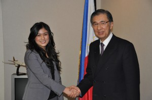 Ms. Carmina Mancenon, youth representative to the World Economic Forum, with Ambassador Domingo L. Siazon, Jr.