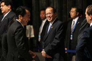 The President exchanges pleasantries with Prime Minister Naoto Kan of Japan before the start of the Leaders' Retreat Session 2 of the 18th Asia Pacific Economic Cooperation (APEC) Leaders' Meeting on Sunday (Nov 14) at the Intercontinental Yokohama Grand Hotel. (Photo by: Jay Morales/ Malacañang Photo Bureau).