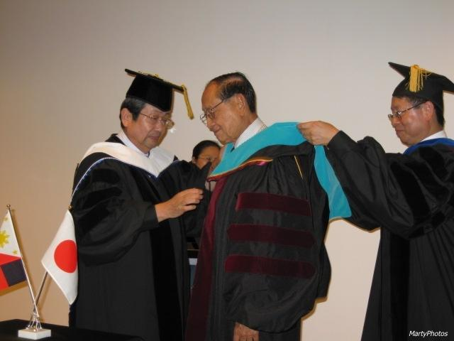 Former President Fidel V. Ramos was conferred an Honorary Doctorate by J.F. Oberlin President Toyoshi Satow.