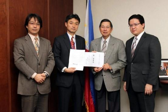 Ambassador Manuel M. Lopez and Consul Christian L. De Jesus receive Mr. Tomomi Ariyoshi and Mr. Koji Tomita, officers of the Tokyo Representative Office of Fukuoka City