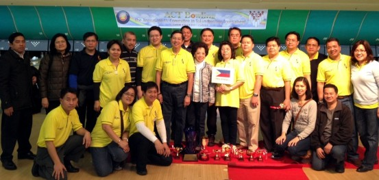 Ambassador and Madame Manuel M. Lopez, Minister Gina A. Jamoralin, Captain Samuel Z. Felix with the Philippine Embassy team, the ACT Bowling Tournament 2012 champion, and other Embassy personnel who came to support the players.