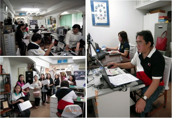 (RIGHT) – Embassy personnel conducting pre-processing of documents before biometric data capture of epassport applicants. (TOP LEFT) – Mobile Data Capture Machine (DCM) operator collects the applicant's documents for scanning.  (BOTTOM LEFT) – Filipinos line up inside the office of the honorary consulate general awaiting their turn for biometric data capture.