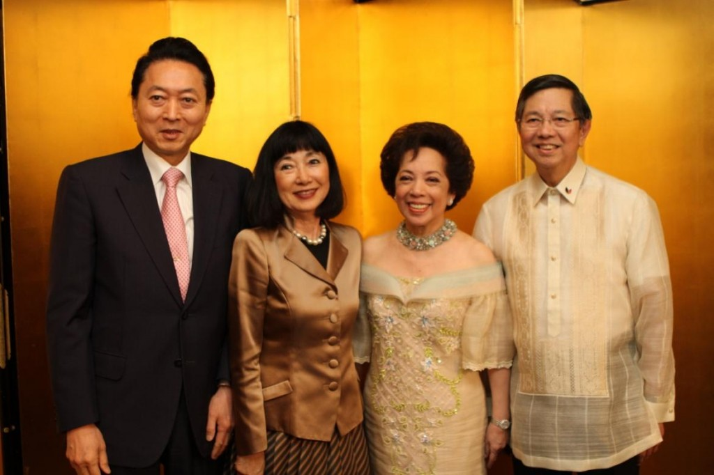 Former Prime Minister and Mrs. Yukio Hatoyama  join Ambassador and Madame Manuel Lopez at the reception line.