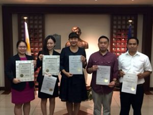 (L-R) Attaché Diane Merce B. Bartolome (ATN Awardee); Ms. Mai Okada (Loyalty Awardee and Outstanding Employee Awardee); Ms. Marian Jocelyn R. Tirol-Ignacio, Charge d' Affaires, a.i., (Loyalty Awardee); Attaché Rodel F. Lomibao (Loyalty Awardee); and Mr. Teody N. Custodio (Loyalty Awardee).