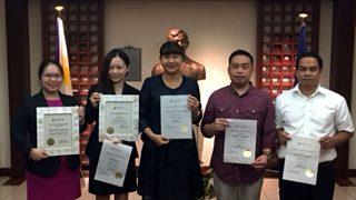 (L-R) Attaché Diane Merce B. Bartolome (ATN Awardee); Ms. Mai Okada (Loyalty Awardee and Outstanding Employee Awardee); Ms. Marian Jocelyn R. Tirol-Ignacio, Charge d' Affaires, a.i., (Loyalty Awardee); Attaché Rodel F. Lomibao (Loyalty Awardee); and Mr. Teody N. Custodio (Loyalty Awardee).
