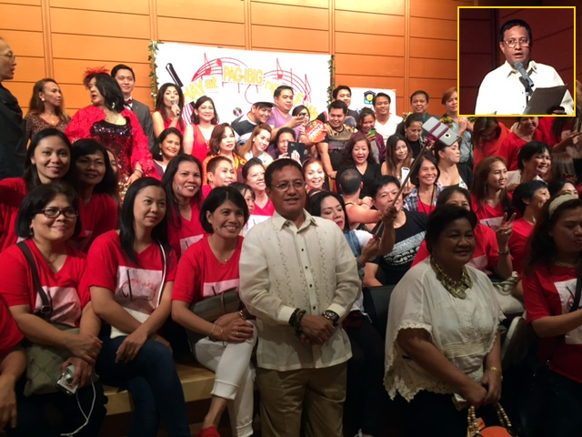 Representative Teodoro G. Montoro (Party-List, AASENSO) pose with the members of the Filipino Community in Tokyo in celebration of the Migrant Workers Day held on 28 August 2016.  Inset: Rep. Montoro delivering his message as guest of honor at the Migrant Workers Day Celebration in Tokyo.