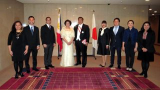 Senate President Pro-Tempore Franklin M. Drilon and Mme. Milagros Drilon with the officers of the Philippine Embassy in Tokyo led by Chargé d'Affaires Ms. Marian Jocelyn R. Tirol-Ignacio.