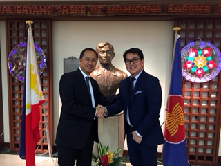 "Mr. Eduardo M.R. Meñez (left), Deputy Chief of Mission of the Philippine Embassy in Tokyo, welcomes Representative Aniceto ""John"" D. Bertiz III (Party-List, ACTS-OFW) at the Embassy on 24 November 2016.  Rep. Bertiz and a 25-member delegation from the Japan Employment Providers of the Philippines & Consultants' Association, Inc. (JEPPCA) are in Tokyo on a business trip."