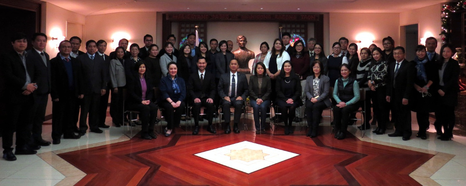 CDA Eduardo Martin R. Menez, Madame Marissa Meñez, officers and staff of the Philippine Embassy.