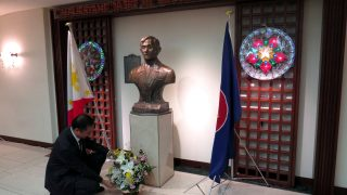 CDA Eduardo Martin R. Meñez offered flowers before the bust of Dr. Jose Rizal.