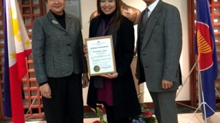 Ms. Ditta Mae C. Siena (middle) poses with Consul-General Marian R. Tirol-Ignacio (left) and Charge d' Affaires, a.i., Eduardo M.R. Meñez of the Embassy.  The Embassy awards Ms. Siena with the Certificate of Commendation as resource speaker in a seminar-workshop held on 23 January 2017.  Photo by JP Perez.