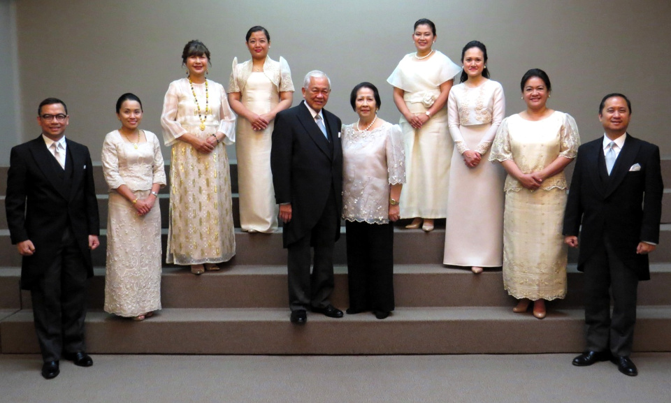 Amb. Jose C. Laurel V and Mrs. Milagros Ereñeta Laurel with the officers of the Philippine Embassy (L-R Minister Josel Ignacio, 1st Secretary Leah Rodriguez, Minister & Consul General Marian Jocelyn Ignacio, 3rd Secretary Andrea Leycano, 3rd Secretary Domini Kitade, 2nd Secretary Margret Malang, 2nd Secretary Cassandra Sawadjaan and Deputy Chief of Mission Eduardo Martin Meñez).