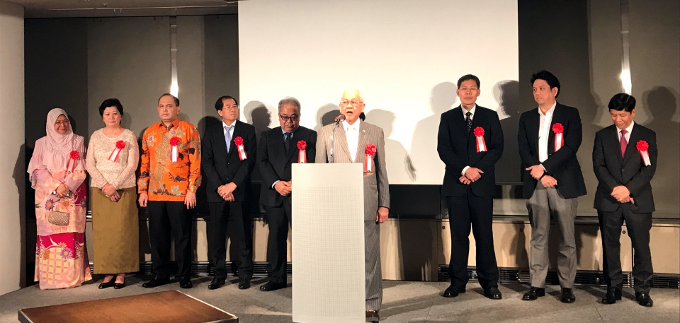 "Ambassador Jose C. Laurel V together with the Ambassadors/Charge d'Affaires, a.i. of ASEAN Embassies during the Opening Ceremony of ""Sunshower: Contemporary Art from Southeast Asia 1980s to Now"" held at Mori Art Museum, Roppongi on 04 July 2017."