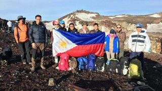 The members of the Tokyo PE Mountaineering Club who have conquered Mt. Fuji (L-R) Mr. Arseñito B. Colaba (guest hiker), Mr. Reynaldo W. Cahayag Jr., Ms. Nonna C. Punzalan, Ms. Charlene Grizel Perez (guest hiker), Mr. Christian B. Harada, MSgt Leodigardo S. Toledo, Mr. Lawrence V. Cuevas, Consul Leah Victoria C. Rodriguez, Mr. Mars Zafra, and Mr. Rodrgio C. Gavino.
