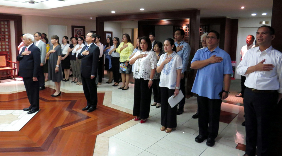 H.E. Ambassador Laurel led the flag-raising ceremony attended by Embassy officers, staff and Partner Agencies.