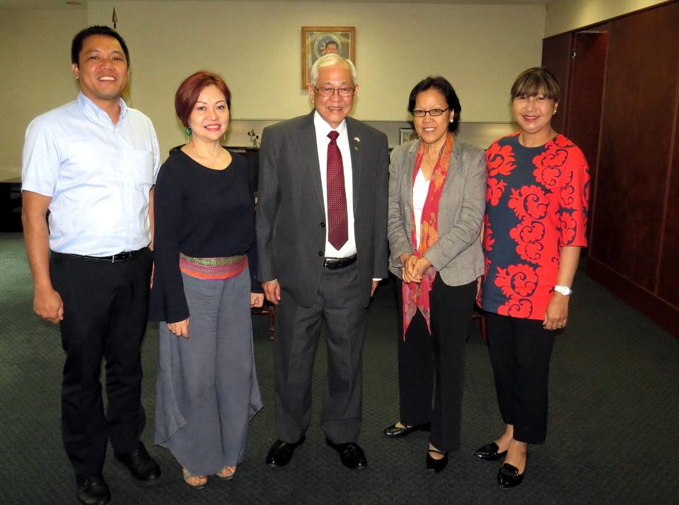 From left: Dr. Erwin Brunio, Ms. Joyce Ogawa, Amb. Jose C. Laurel, Dr. Cristina Liamzon and Consul General Marian Jocelyn R. Tirol-Ignacio.