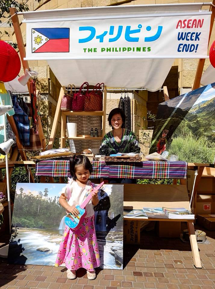 Tokyo PE's Cultural Officer, Ms. Mary Joy N. Duran-Mortel and daughter Monica showcase Philippine native products at the Philippine booth in Roppongi Hills. (Photo Credit: Mr. Timothy James Mortel)