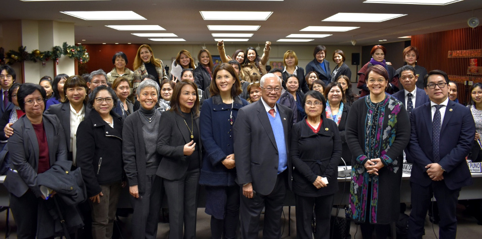 The House Committee on Population and Family Relations and the House Committee Secretariat pose for a photo with Embassy and Consulate General officials and Filipinos attending the Hearing (Tokyo PE/Mark Akim)