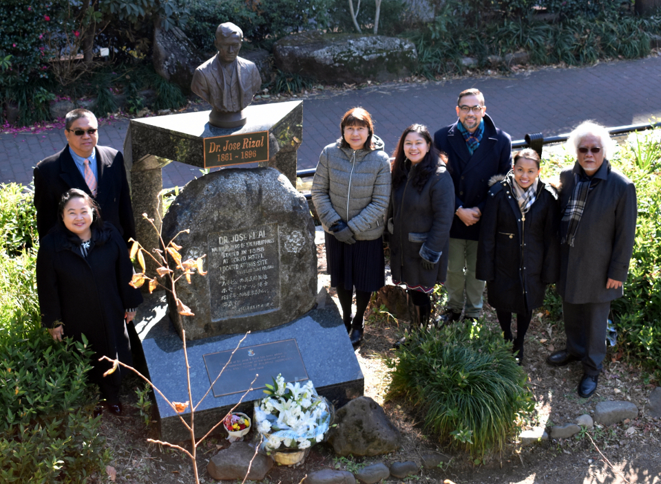 CDA, a. i. Tirol-Ignacio and officials of Tokyo PE and partner agencies pose for a commemorative photo following the floral offering before Dr. Rizal's bust at Hibiya Park. (Photo: Mr. Mark Akim)