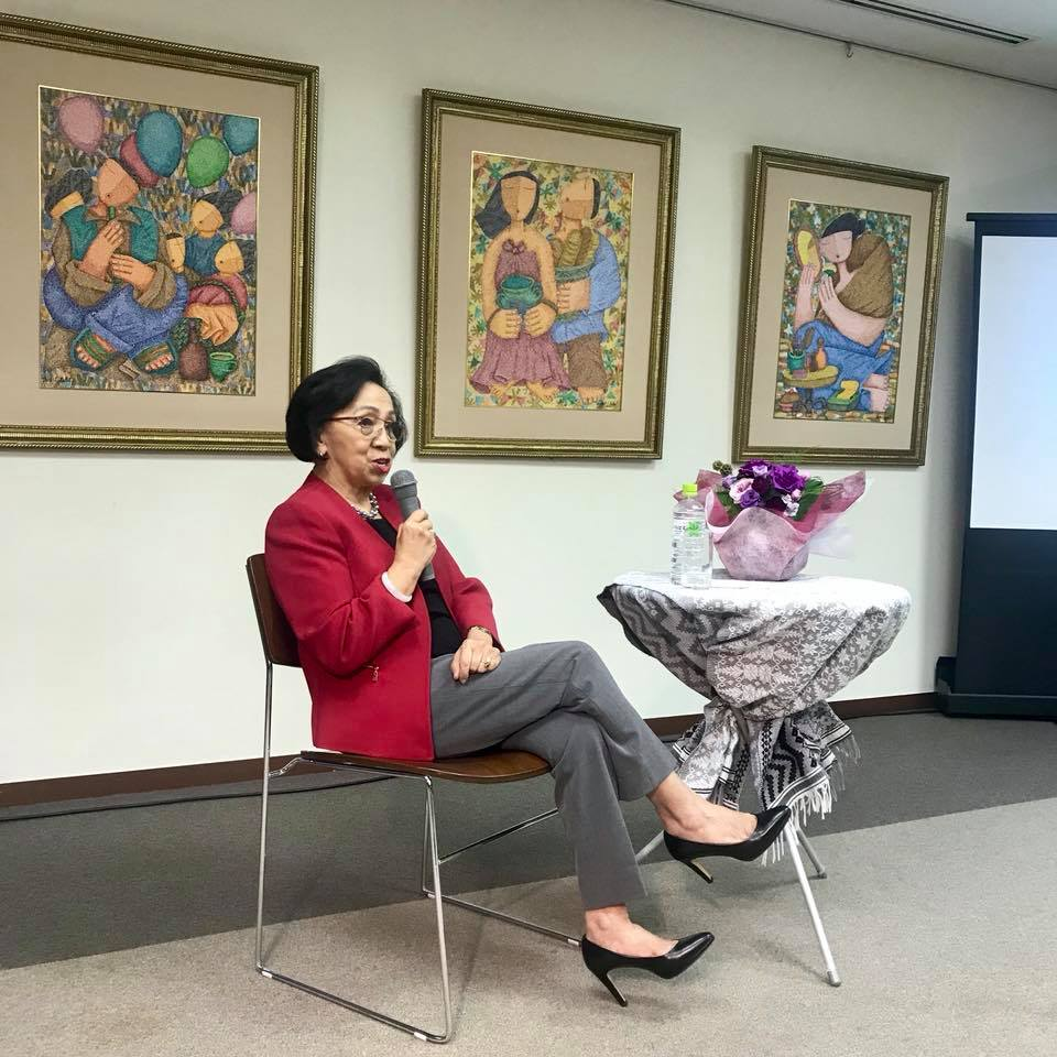 Former Secretary of Foreign Affairs and Retired Ambassador Delia Domingo Albert speaks in front of the officers and staff of the Philippine Embassy in Tokyo on being a successful woman diplomat.