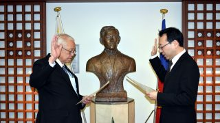 Ambassador Jose C. Laurel V (left) administering the oath of office of Mr. Ken Luis Tobe as Consul, ad honorem, of the Philippines in Sapporo City, Japan.