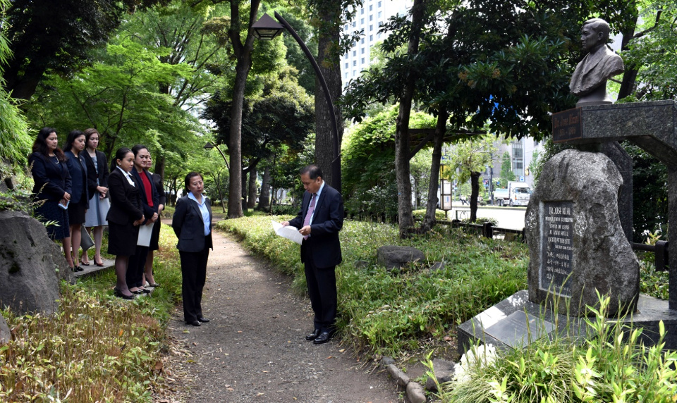 Deputy Chief of Mission leads the wreath laying ceremony at the Rizal Monument in Hibiya Park and shares a brief reflection on the life of Jose Rizal.