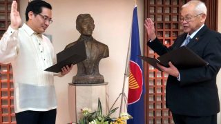 H.E. Ambassador Jose C. Laurel administers the Oath of Office as Chief of Mission, Class II, to Minister and Consul General Robespierre Bolivar.