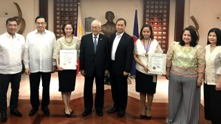 (L-R): Mr. Ferdinand F. Fabello, Loyalty Awardee; Mr. Robespierre L. Bolivar, Minister & Consul General, Gawad Mabini Awardee; Ms. Mary Joy N. Duran-Mortel, Outstanding Employee Awardee; Amb. Jose C. Laurel V; Mr. Eduardo M.R. Meñez, Deputy Chief of Mission; Ms. Frances L. Komesu, ATN Awardee; Ma. Emelie T. Salazar, Loyalty Awardee; and Ms. Nonna C. Punzalan, Loyalty Awardee.