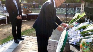 Ambassador Jose C Laurel V lays a wreath at the cenotaph which marks the exact place where the atomic bomb exploded in Nagasaki on 09 August 1945.
