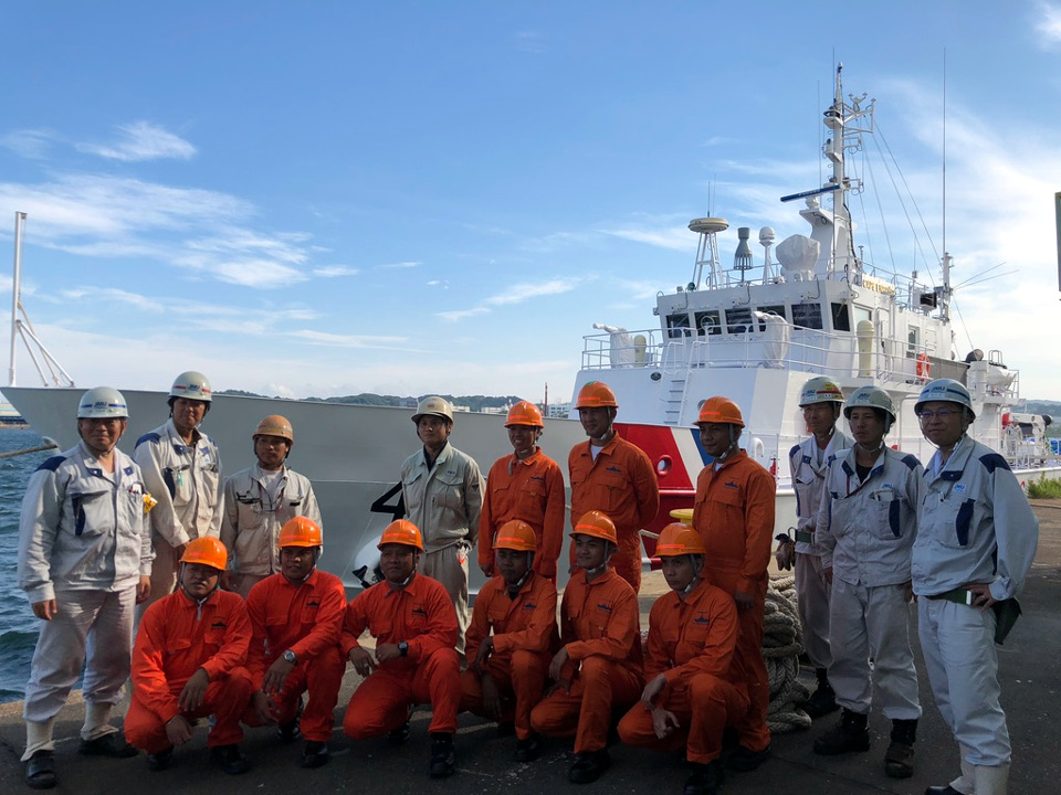 The sailing crew of BRP Cape Engano: On board the BRP Cape Engano for its maiden voyage to the Philippines are Philippine and Japanese crew members.
