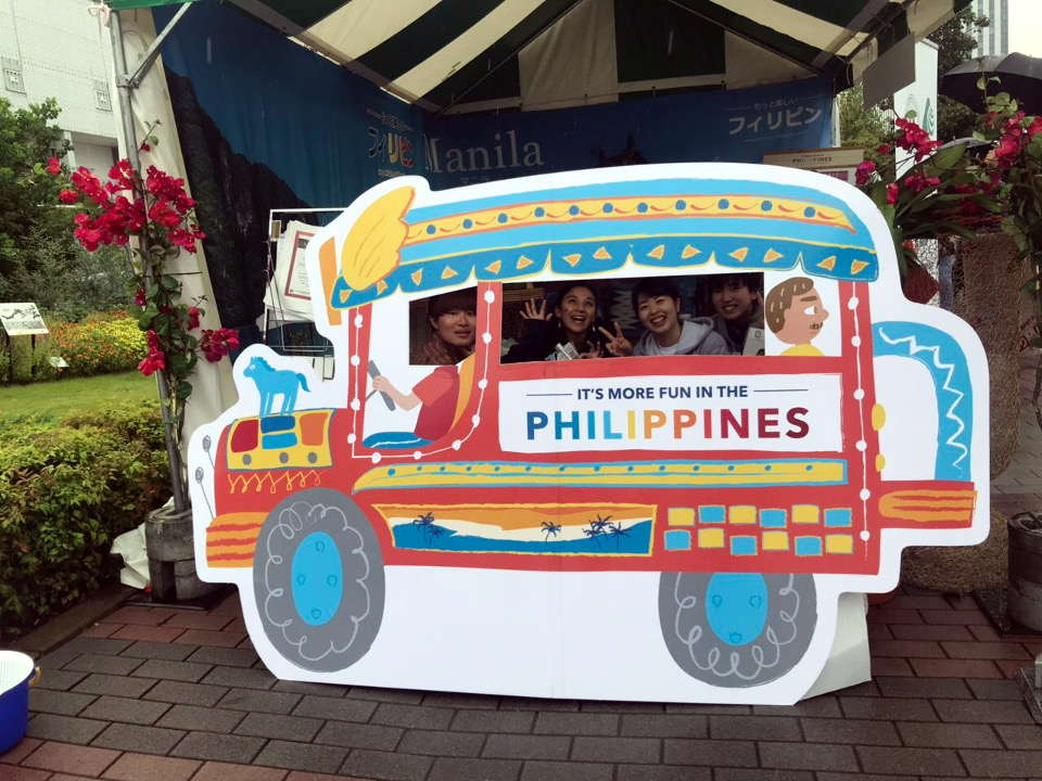 Japanese millenials enjoyed having their photo taken while pretending to ride a Philippine jeepney.