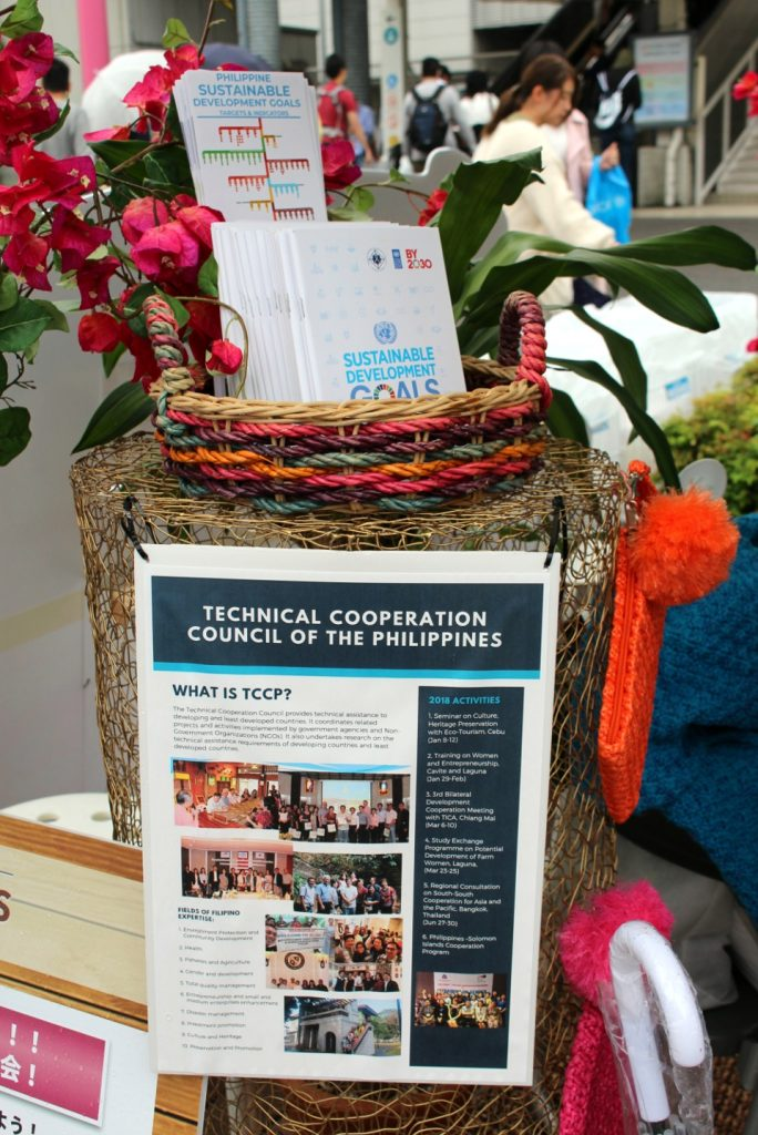 "Under the theme, ""One small step can change tomorrow"", the Philippine Embassy showcased the country's progress in achieving the Sustainable Development Goals (SDGs) and raised awareness of our Official Development Assistance (ODA) cooperation with developed and least developed countries through the Technical Cooperation Council of the Philippines (TCCP)."
