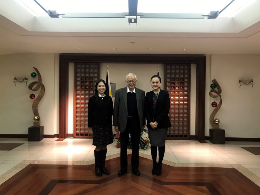Ambassador Laurel (center) with Ms. Serna-Chua (leftmost) and Ms. Malang (rightmost)