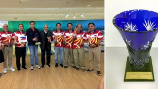 Left: Ambassador Jose C. Laurel V leads Tokyo PE Bowling Team at the 2018 ACT Bowling Tournament. Right: ACT Bowling Trophy.