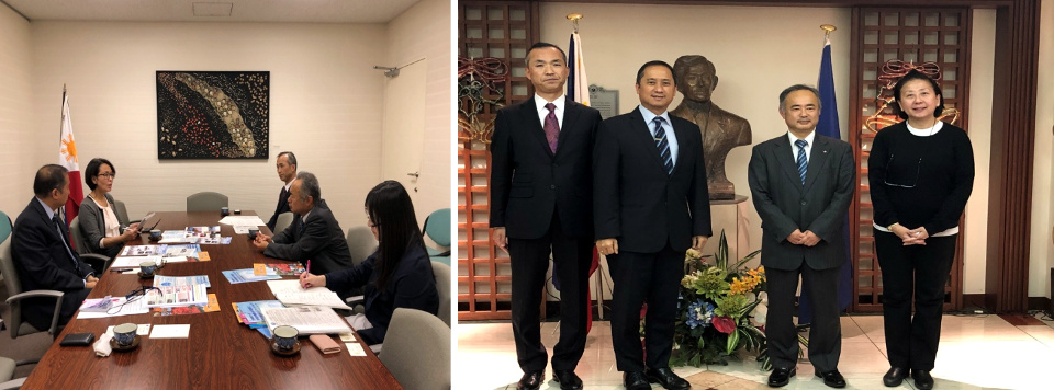 Deputy Chief of Mission Eduardo Menez and Minister Evangeline Ducrocq meet Ibaraki Prefecture External Affairs Bureau officials Messrs. Kazuhiro Yaguchi and Shinichi Watahiki