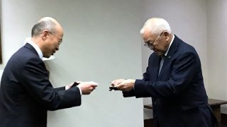 Tokyo Gas Senior Managing Executive Officer and Board Member Mr. Kunio Nohata (left) pays a courtesy call on Ambassador Jose C. Laurel V (right) to report on the progress of their project in the Philippines and extend their  invitation to visit the Tokyo Gas facility in Ibaraki and Chiba prefecture.