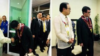 09 February 2019 – Ambassador Jose C. Laurel V warmly received His Excellency Taro Kono, Minister for Foreign Affairs of Japan and the rest of his delegation, for the latter's Official Visit to the Philippines on 09-11 February 2019 (Photo credit: Mr. Mahabsar B. Lucman)