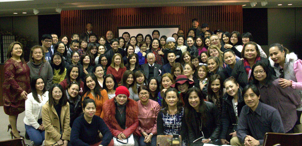 Members of Filipino communities in Japan pose with Philippine Ambassador Jose C. Laurel V (center) at the Financial Literacy Seminar conducted by the Bureau of the Treasury. The Philippine government is encouraging the Overseas Filipino Workers (OFWs) to participate in nation building through investments in government securities such as the Retail Treasury Bonds (RTBs). The issuance of the 22nd Tranche of the RTBs will run from 26 February 2019 to 08 March 2019. (Photo by Mr. Quimar Yazima)