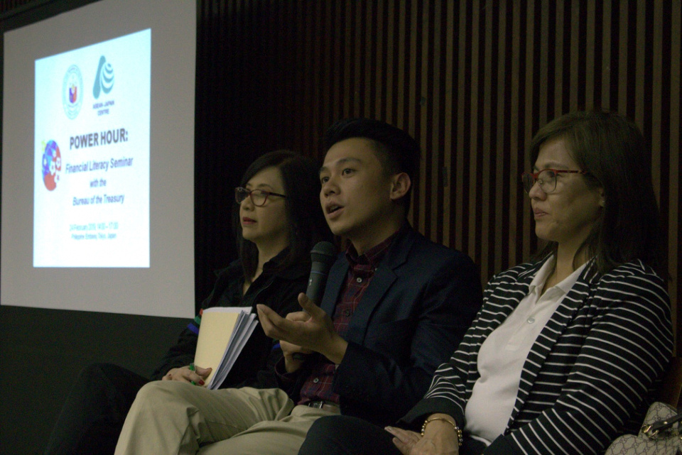 Officials from the Bureau of the Treasury, Landbank of the Philippines, and Development Bank of the Philippines entertain questions during the Q&A session. (Photo by Mr. Quimar Yazima)