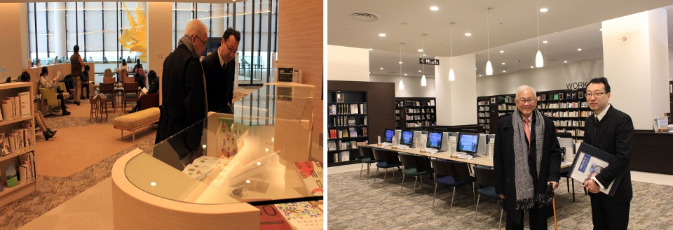 Ambassador Laurel, Honorary Consul Ken Tobe and delegation tour the new public library of Sapporo