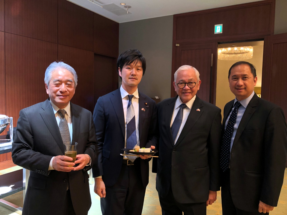 Ambassador Laurel (second from right) and Deputy Chief of Mission Eduardo Meñez (rightmost) pose with Hon. Norikazu Suzuki, Parliamentary Vice Minister for Foreign Affairs of Japan (second from left) and ASEAN-Japan Centre Secretary General Masataka Fujita (leftmost) at the reception on the occasion of the 38th Annual Meeting of the ASEAN-Japan Centre in Tokyo, Japan. The ASEAN-Japan Centre is an inter-governmental organization established in 1981 to promote trade, investment, tourism, and people-to-people exchanges between ASEAN and Japan.