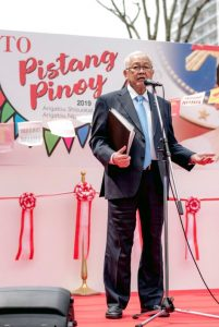 Philippine Ambassador to Japan Jose C. Laurel V delivers the keynote speech during the opening ceremonies of the 3rd Pistang Pinoy sa Shizuoka on 14 April 2019.