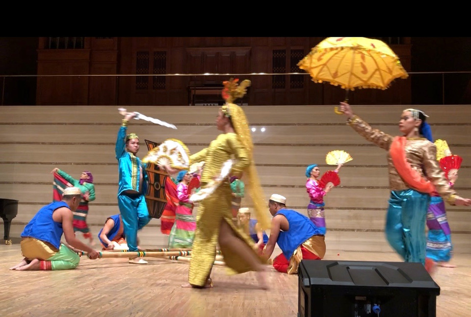 "The Dumaguete-based Sidlakan Dance Company performs ""Singkil"" during the ""Tagsibol"" concert on the evening of 13 April 2019."