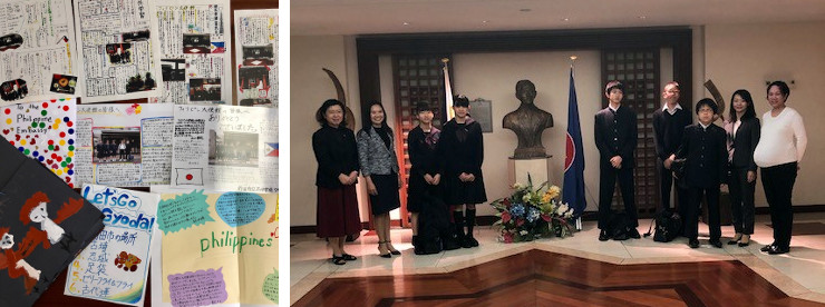 Left: Hand-made cards sent by visiting students to Tokyo PE as a sign of gratitude. Right: Students from Kudan Secondary School who visited the Embassy in March.