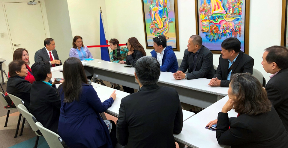 Deputy Chief of Mission Eduardo M.R. Meñez and First Secretary Cassandra Sawadjaan provide an overview of Philippines-Japan bilateral relations during the courtesy call by Makati City barangay officials as part of the Asian Institute of Management's Project Management Program for Punong Barangays of Makati City from 01 to 04 April 2019 in Tokyo, Japan. Makati City barangay officials will study Japan's experiences and best practices in disaster preparedness, waste management, and peace and order, especially at the community level.