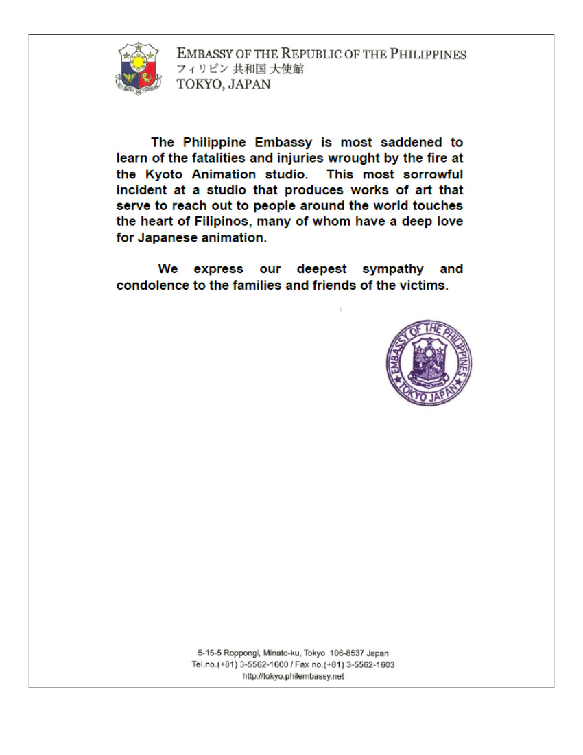 Condolence Message for Kyoto Fire Victims | Philippine Embassy